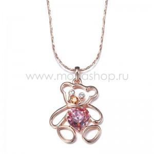 Кулон «Медвежонок» с фиолетовым кристаллом Сваровски