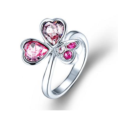 Кольцо «Аленький цветочек» с розовыми кристаллами Сваровски