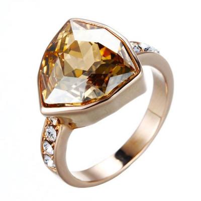 Кольцо «Бермудский треугольник», покрытие - розовое золото