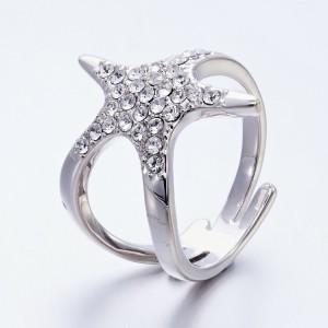 Кольцо «Морская звезда» с кристаллами Сваровски