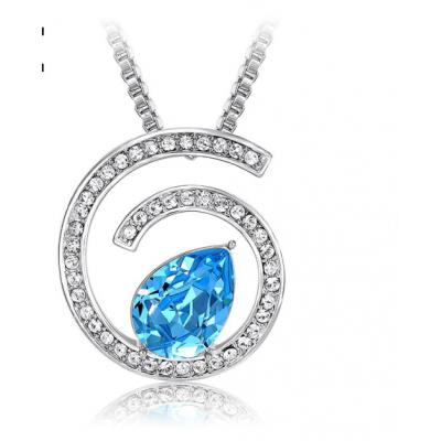 Кулон «Бесконечность» с голубым кристаллом Сваровски