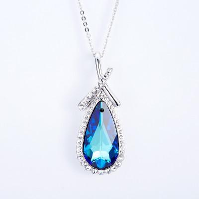 Кулон Безмятежность с синим кристаллом Сваровски