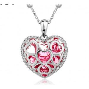Кулон «Каменное сердце» с розовыми чешскими кристаллами