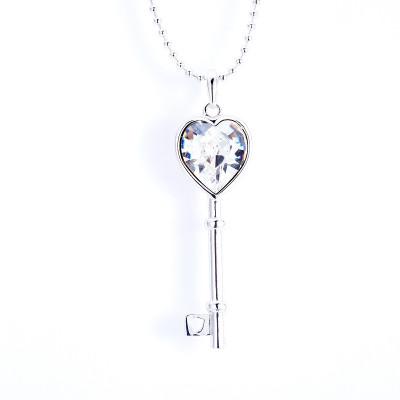 Кулон Ключ с белым кристаллом Сваровски