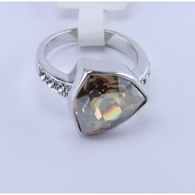 Кольцо «Бермудский треугольник», покрытие - белое золото