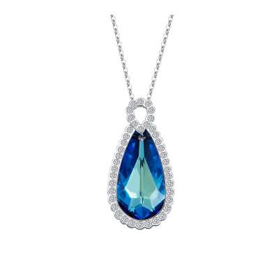 Кулон «Ностальгия» с синим кристаллом Сваровски