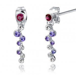 Серьги Фиалка с фиолетовыми кристаллами Сваровски