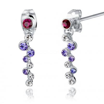 Серьги «Фиалка» с фиолетовыми кристаллами Сваровски