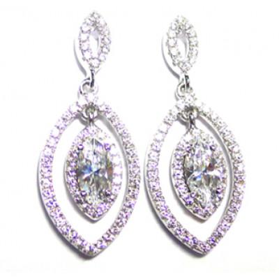 Серьги серебряные «Грация» с кристаллами Сваровски
