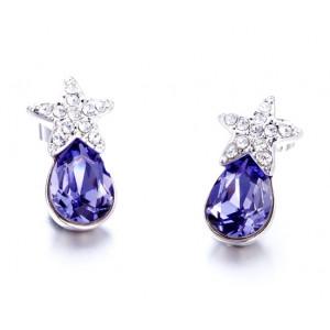 Серьги «Звездочки» с фиолетовыми кристаллами Сваровски
