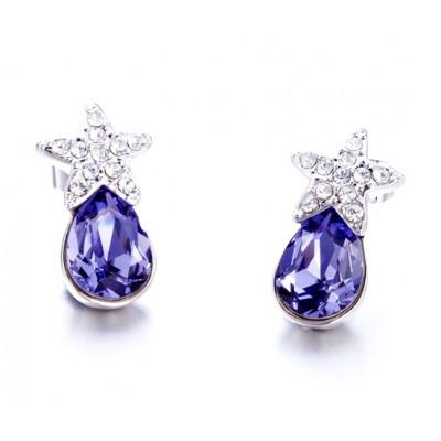 Серьги Звездочки с фиолетовыми кристаллами Сваровски