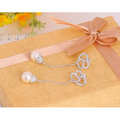 Серьги «Невеста» с кристаллами Сваровски и жемчугом
