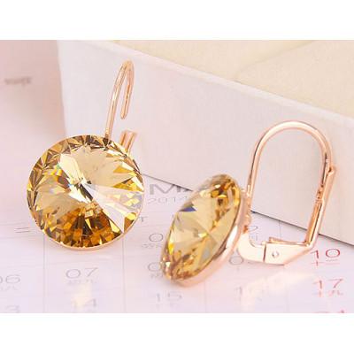 Серьги «Чародейка» с желтыми кристаллами Сваровски, покрытие - золото