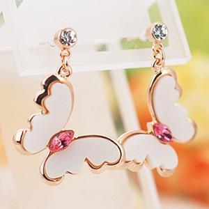 Серьги «Поцелуй бабочки» с кристаллами Сваровски