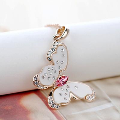 Кулон Поцелуй бабочки с кристаллами Сваровски