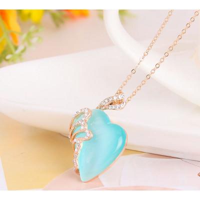 Кулон «Нега» с голубым опалом и кристаллами Сваровски