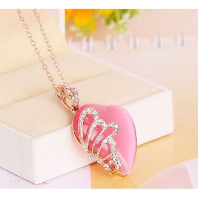 Кулон «Нега» с розовым опалом и кристаллами Сваровски
