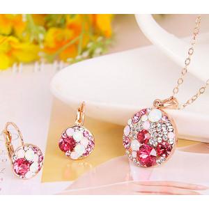 Комплект «Конфетти» с красными кристаллами Сваровски