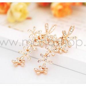 Серьги «Летнее настроение» с белыми кристаллами, покрытие - золото