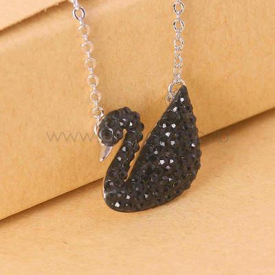 Кулон «Черный лебедь» с кристаллами Сваровски