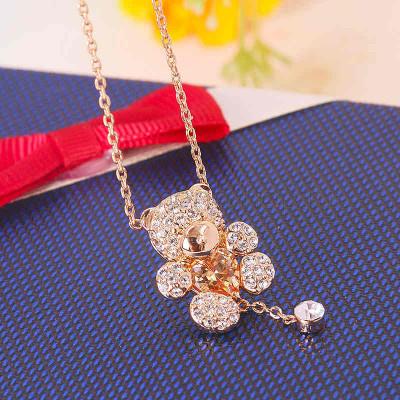 Кулон Мишка с сердцем с цирконием и австрийскими кристаллами