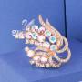 Брошь «Ветка сирени» с кристаллами-хамелеонами Сваровски