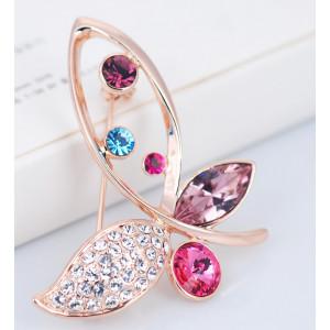 Брошь Бабочка с разноцветными камнями Сваровски