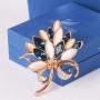 Брошь «Букет лилий» с синими кристаллами и опалами