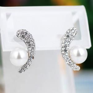Серьги «Очарование» с белым жемчугом и кристаллами