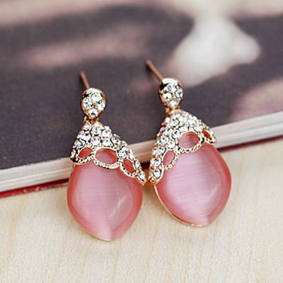 Серьги «Нега» с розовым опалом и кристаллами Сваровски