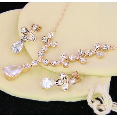 Комплект Цветы невесты с цирконием и австрийскими кристаллами