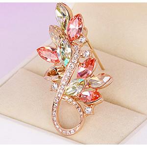 Брошь Золотая осень с кристаллами Swarovski