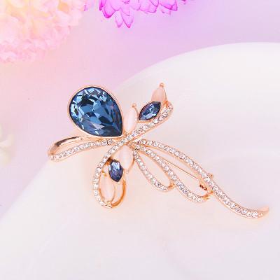 Брошь «Муза» с синими кристаллами Сваровски