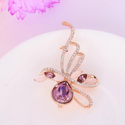 Брошь «Муза» с фиолетовыми кристаллами Сваровски