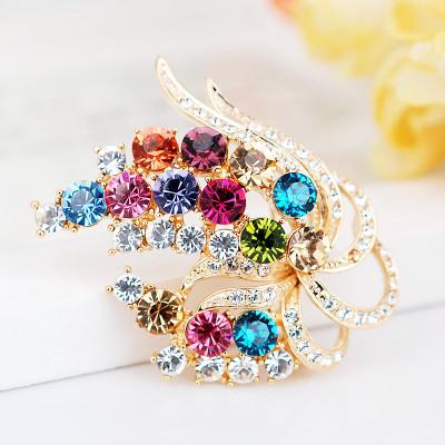 Брошь «Ветка сирени» с кристаллами Сваровски