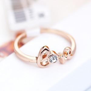 Кольцо «С любовью» с австрийскими кристаллами, покрытие - золото