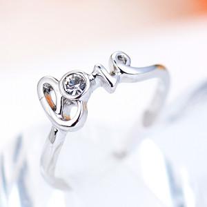 Кольцо С любовью с австрийскими кристаллами, покрытие - родий