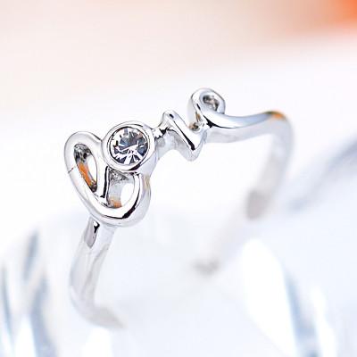 Кольцо «С любовью» с австрийскими кристаллами, покрытие - родий