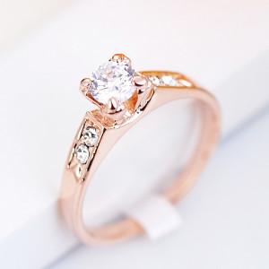 Кольцо «Предложение» с цирконием и кристаллами, покрытие - золото