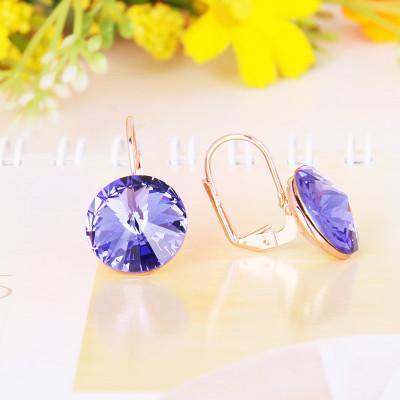 Серьги «Чародейка» с фиолетовыми кристаллами Сваровски, покрытие - золото