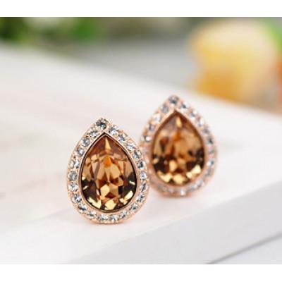 Серьги «Лира» с кристаллами Сваровски цвета шампань