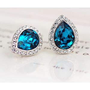 Серьги «Лира» с синими кристаллами Сваровски