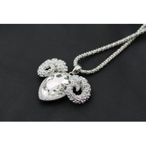 Кулон «С характером» с белым австрийским кристаллом