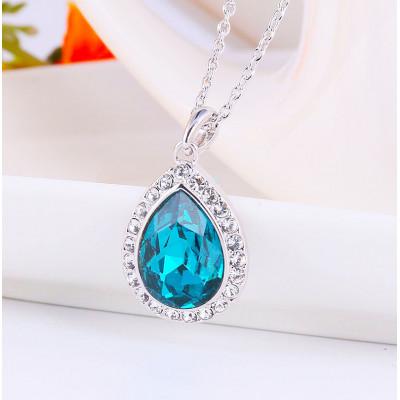 Кулон «Лира» с синим кристаллом Сваровски