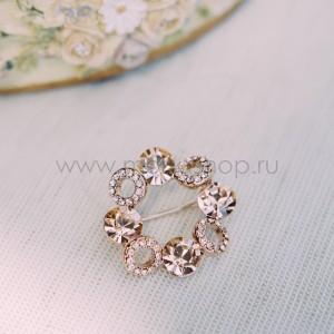 Брошь «Злата» с кристаллами Сваровски цвета шампань