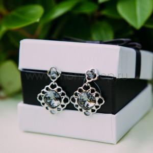 Серьги «Черный тюльпан» с кристаллами Сваровски