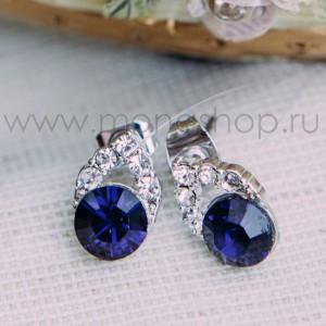 Серьги «Фея» с синим кристаллом Сваровски
