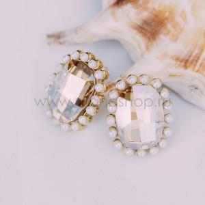 Серьги «Брызги шампанского» с кристаллами Сваровски