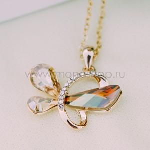 Кулон «Афродита» с кристаллами Сваровски цвета шампань
