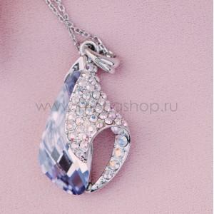 Кулон «Объятия» с фиолетовым кристаллом Сваровски